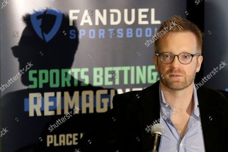 Matt King, chief executive officer for FanDuel Group speaks during a news conference before Meadowlands Racetrack open its doors to sports betting, in East Rutherford, N.J. Meadowlands Racetrack started taking sports betting on Saturday, becoming the fourth sports betting outlet in New Jersey following the state's U.S. Supreme Court victory in a case that cleared the way for all 50 states to legalize sports betting