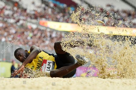 Jordan Scott of Jamaica during the triple jump final.