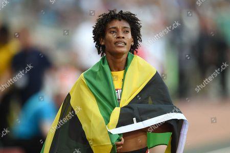 Stephanie Ann McPherson of Jamaica after winning the  women's 400m final.