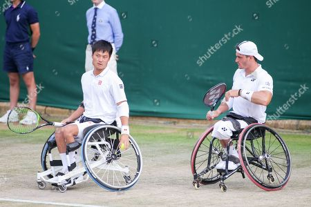 Shingo Kunieda (JPN), Gustavo Fernandez (ARG) - Tennis : Shingo Kunieda of Japan and Gustavo Fernandez of Argentina during the Men's wheelchair doubles semi-final match of the Wimbledon Lawn Tennis Championships against Alfie Hewett and Gordon Reid of Great Britain at the All England Lawn Tennis and Croquet Club in London, England.