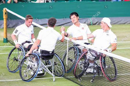 Shingo Kunieda (JPN), Gustavo Fernandez (ARG) - Tennis : Shingo Kunieda of Japan and Gustavo Fernandez of Argentina greet Alfie Hewett and Gordon Reid of Great Britain after the Men's wheelchair doubles semi-final match of the Wimbledon Lawn Tennis Championships against at the All England Lawn Tennis and Croquet Club in London, England.