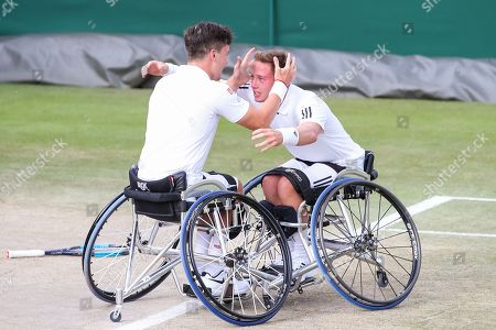 (L-R) Gordon Reid, Alfie Hewett (GBR) - Tennis : (L-R) Gordon Reid and Alfie Hewett of Great Britain celebrate after winning the Men's wheelchair doubles semi-final match of the Wimbledon Lawn Tennis Championships against Shingo Kunieda of Japan and Gustavo Fernandez of Argentina at the All England Lawn Tennis and Croquet Club in London, England.