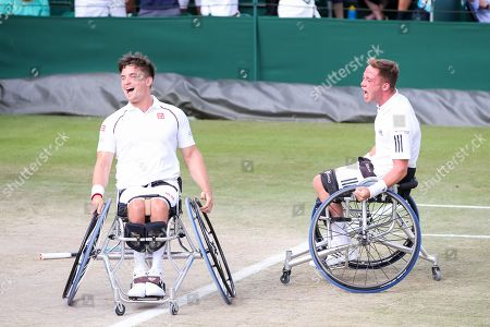 (L-R Gordon Reid, Alfie Hewett (GBR) - Tennis : (L-R) Gordon Reid and Alfie Hewett of Great Britain celebrate after winning the Men's wheelchair doubles semi-final match of the Wimbledon Lawn Tennis Championships against Shingo Kunieda of Japan and Gustavo Fernandez of Argentina at the All England Lawn Tennis and Croquet Club in London, England.