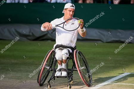 Gustavo Fernandez (ARG) - Tennis : Gustavo Fernandez of Argentina during the Men's wheelchair doubles semi-final match of the Wimbledon Lawn Tennis Championships against Alfie Hewett and Gordon Reid of Great Britain at the All England Lawn Tennis and Croquet Club in London, England.