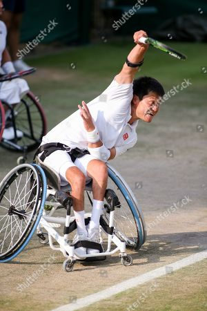 Shingo Kunieda (JPN) - Tennis : Shingo Kunieda of Japan during the Men's wheelchair doubles semi-final match of the Wimbledon Lawn Tennis Championships against Alfie Hewett and Gordon Reid of Great Britain at the All England Lawn Tennis and Croquet Club in London, England.