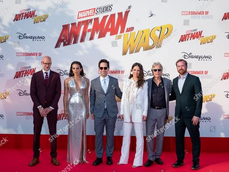 Peyton Reed, Hannah John-Kamen, Paul Rudd, Evangeline Lilly, Michael Douglas and Stephen Broussard