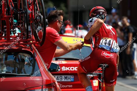 Team Katusha Alpecin rider Marcel Kittel of Germany receives technical assistance during the 9th stage of the 105th edition of the Tour de France cycling race over 156,5km between Arras and Roubaix, France, 15 July 2018.