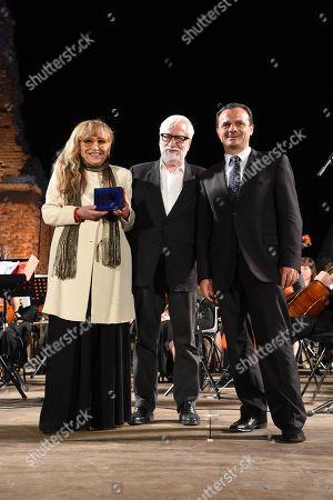 Stock Photo of Piera Degli Esposti with, Cateno De Luca Mayor of Messina and Claudio Masenza