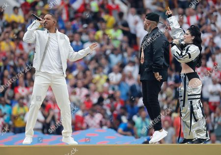 (L-R) US actor and singer Will Smith, US singer Nicky Jam and  Kosovar singer Era Istrefi   perform before the FIFA World Cup 2018 final between France and Croatia in Moscow, Russia, 15 July 2018.