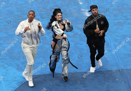 US singer Nicky Jam (R), US singer and actor Will Smith (L) and Kosovar singer Era Istrefi perform during the closing ceremony before the FIFA World Cup 2018 final between France and Croatia in Moscow, Russia, 15 July 2018.