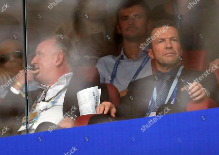 German former soccer players Andreas Brehme (L) and Lothar Matthaeus during the FIFA World Cup 2018 final between France and Croatia in Moscow, Russia, 15 July 2018.