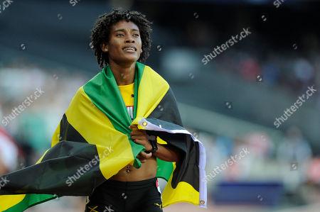 Stephanie Ann McPherson of Jamaica celebrates winning the 400m during the Athletics World Cup at the London Stadium