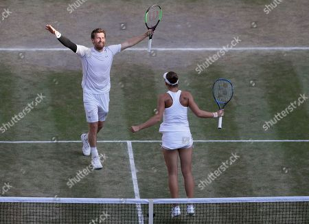Nicole Melichar of the United States and Austria's Alexander Peya, celebrate winning the mixed doubles final match against Britain's Jamie Murray and Victoria Azarenka of Belarus, at the Wimbledon Tennis Championships, in London