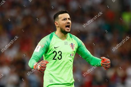 Croatia goalkeeper Danijel Subasic reacts after Croatia's Ivan Perisic scored his side's first goal during the final match between France and Croatia at the 2018 soccer World Cup in the Luzhniki Stadium in Moscow, Russia