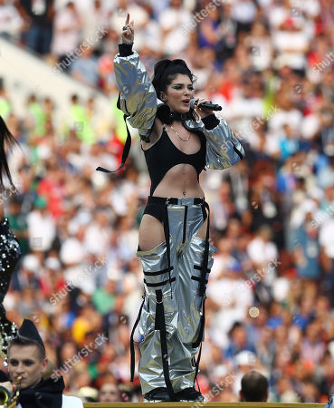 Era Istrefi performs during the FIFA World Cup closing ceremony
