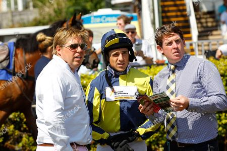 Dan Skelton, Harry Skelton and Jason Maguire at Stratford before victory of One For Billy.