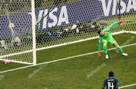 Croatia goalkeeper Danijel Subasic fails to stop France's Paul Pogba's goal during the final match between France and Croatia at the 2018 soccer World Cup in the Luzhniki Stadium in Moscow, Russia