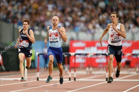Dai Greene of Great Britain during the Men's 400m hurdles final.