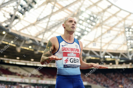 Stock Picture of Dai Greene of Great Britain during the Men's 400m hurdles final.