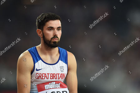 Martyn Rooney of Great Britain before being disqualified in the 4 x 400m final.