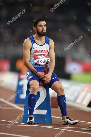 Stock Picture of Martyn Rooney of Great Britain before being disqualified in the 4 x 400m final.