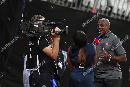 Carl Lewis is interviewed by Sky TV.