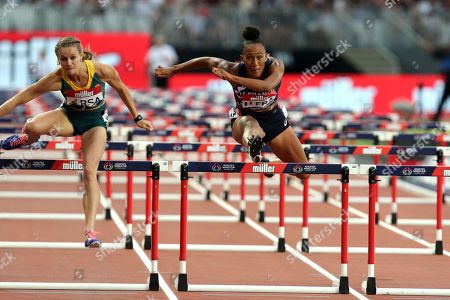 Stock Photo of Queen Harrison of USA  competes in the women 100 metres hurdles during the Athletics World Cup at The London Stadium on 15th July 2018