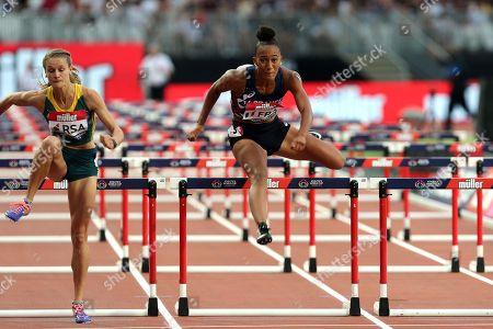 Queen Harrison of USA  competes in the women 100 metres hurdles during the Athletics World Cup at The London Stadium on 15th July 2018