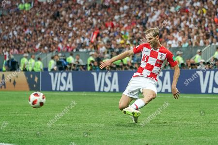 Ivan Strinic of Croatia passing the ball at Luzhniki Stadium during the final between Franceand Croatia during the World Cup