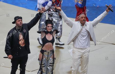 American Actor/Singer Will Smith with singer Era Istrefi and Nicky Jam left perform at the Closing Ceremony