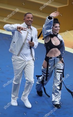 Stock Picture of American Actor/Singer Will Smith with singer Era Istrefi performs at the Closing Ceremony