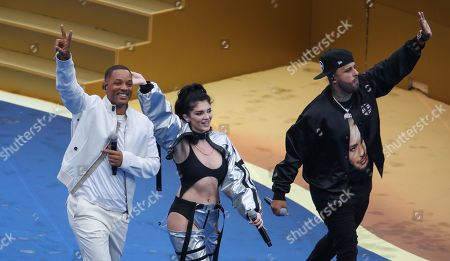 Stock Picture of American Actor/Singer Will Smith with singer Era Istrefi and Nicky Jam right perform at the Closing Ceremony
