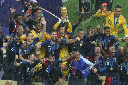 France captain Hugo Lloris lifts the World Cup Trophy