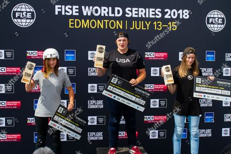 The BMX preliminary Competitions got underway heading into the finals at this weekend Competition with the Women's BMX Final on Saturday, the winners In First place Hannah Roberts (M), Second place Lara Lessmann (L) and third place Charlotte Worthington (R) during the FISE World Series Edmonton 2018.