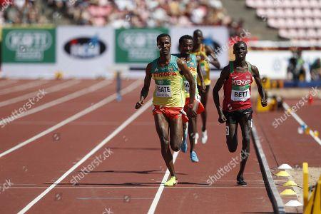 Takele Nigate of Ethiopia, Getnet Wale of Ethiopia and Leonard Kipkemoi Bett of Kenya during men's 3000 meters Steeplechase finalLES.