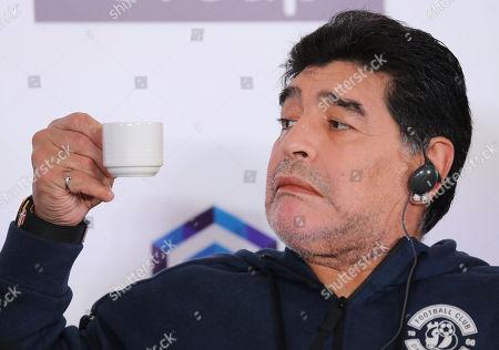 Argentinian soccer legend Diego Maradona attends a press conference in Brest, Belarus, 16 July 2018. Maradona has been appointed as chairman of Belarussian soccer club 'Dinamo Brest'.