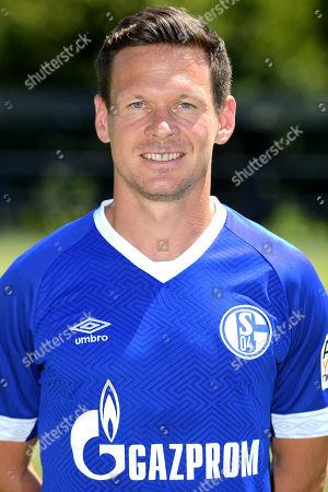 Sascha Riether poses during the presentation of German Bundesliga soccer team FC Schalke 04 at Veltins-Arena in Gelsenkirchen, Germany, 16 July 2018.