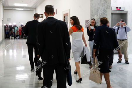 Former FBI lawyer Lisa Page, center, arrives for a closed doors interview with the House Judiciary and House Oversight committees, on Capitol Hill in Washington