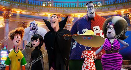 Johnny (Andy Samberg), Mavis (Selena Gomez),Vlad (Mel Brooks), Murray the Mummy (Keegan-Michael Key), Dracula (Adam Sandler), Invisible Man (David Spade), Crystal (Chrissy Teigen), Frank (Kevin James), Eunice (Fran Drescher)