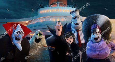 Stock Photo of Vlad (Mel Brooks), Murray the Mummy (Keegan-Michael Key), Invisible Man (David Spade), Dracula (Adam Sandler), Mavis (Selena Gomez), Frank (Kevin James), Eunice (Fran Drescher)