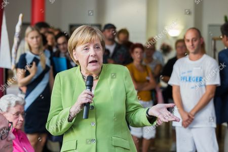 German Chancellor Angela Merkel visits a nursing home, Paderborn