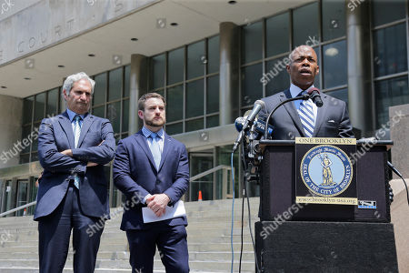 Aaron Carr, Eric Adams, Jack Lester. Brooklyn borough president Eric Adams, right, Aaron Carr, founder of Housing Rights Initiative, center, and attorney Jack Lester attend a news conference in New York, . They were helping to announce that Kushner Cos. is being sued by renters at one of its largest residential buildings in New York for allegedly using construction crews to make living conditions so intolerable they would leave, freeing up apartments to be sold as high-priced luxury condos
