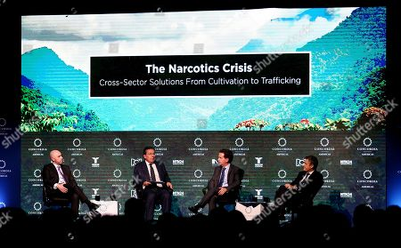 (L-R) President of Colombia's Farmers Society Jorge Bedoya, Colombian Attorney General Nestor Humberto Martinez, former Bogota Security Secretary Daniel Mejia and Salvadoran presidential candidate Carlos Calleja take part in the 'The narcotics crisis: From crops to traffic' colloquium during the Americas Concord Summit 2018 in Bogota, Colombia, 16 July 2018. The summit runs from 16 to 17 July 2018.