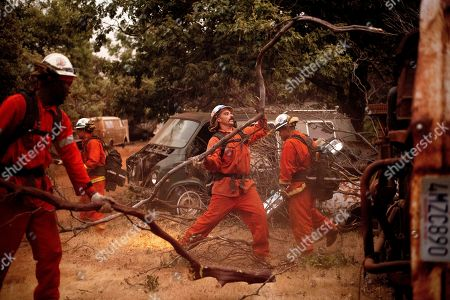 Inmate firefighters clear brush to create a fire break while battling the Ferguson Fire in unincorporated Mariposa County, Calif, on