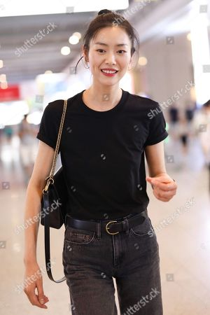 Liu Wen at Shanghai Pudong International Airport