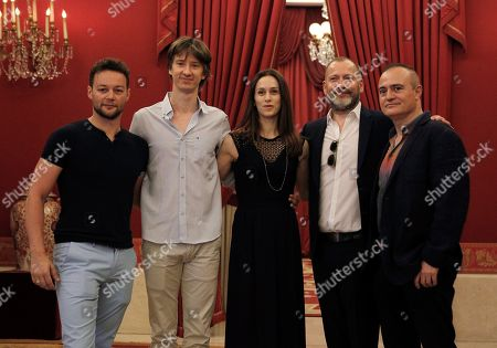 London-based 'The Royal Ballet' company's British choreographer Liam Scarlett (L), dancers Vadim Muntagirov from Russia and Marianela Nunez (C) from Argentina, Director Kevion O'Hare and Madrid Royal Opera House's artistic director Joan Matabosch (R) pose for photographers as they present the 'Swan Lake' ballet at the Royal Opera House in Madrid, Spain, 17 July 2018. The ballet will be shown from 18 to 22 July.