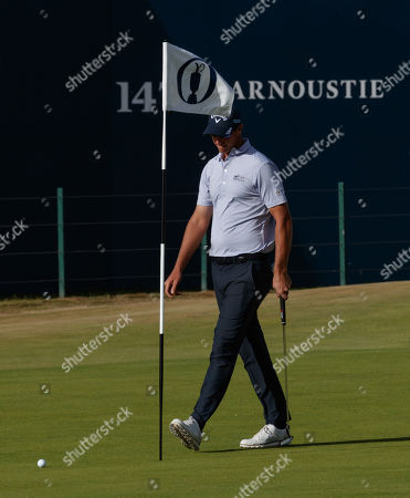 Nicolas Colsaerts (Belgium) on the 18th green during practice day 3 at Carnoustie.