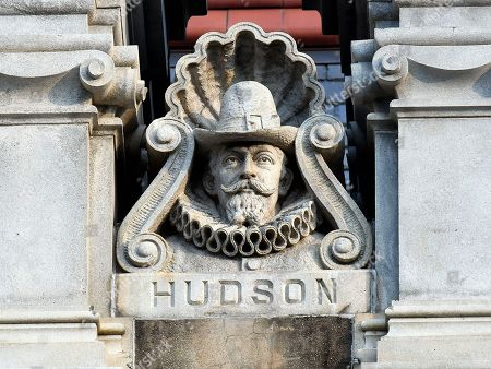 View of decorative sculpture of Henry Hudson, on the exterior of the New York state Capitol, in Albany, N.Y