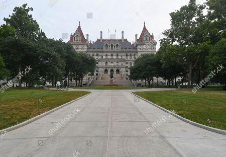 View of decorative sculpture of Henry Hudson, and Mohawk Indian warrior, Joseph Brant on the exterior of the New York state Capitol, in Albany, N.Y
