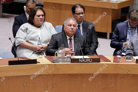 President of Nauru Baron Waqa during the Security Council Meeting on Understanding and addressing climate-related security risks today at the UN Headquarters in New York.